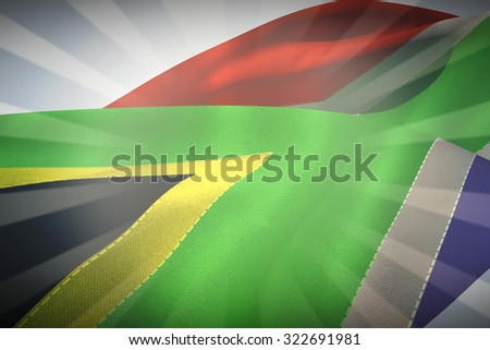 Waving flag of South Africa against linear design - stock photo