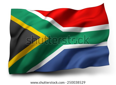 Waving flag of South Africa isolated on white background - stock photo