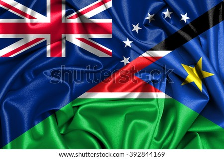 Waving flag of South Sudan and Cook Islands