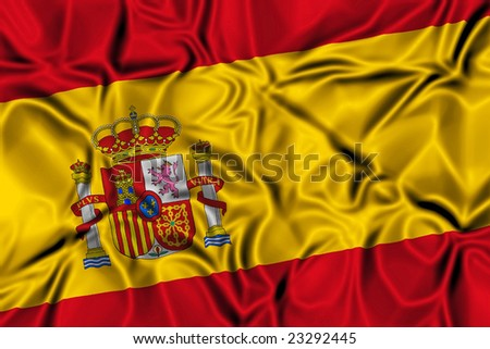 Waving flag of Spain - stock photo