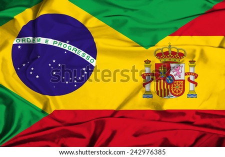 Waving flag of Spain and Brazil - stock photo