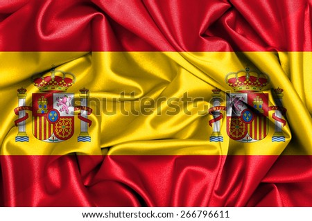 Waving flag of Spain and Spain - stock photo