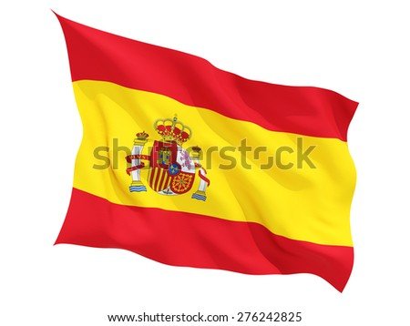 Waving flag of spain isolated on white - stock photo