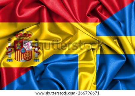 Waving flag of Sweden and Spain - stock photo