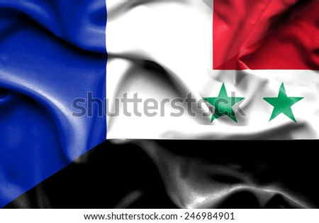 Waving flag of Syria and France