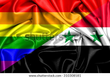 Waving flag of Syria and Gay - stock photo