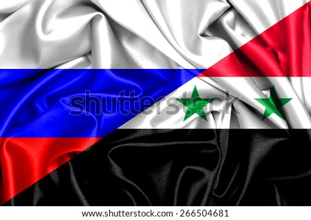 Waving flag of Syria and Russia - stock photo