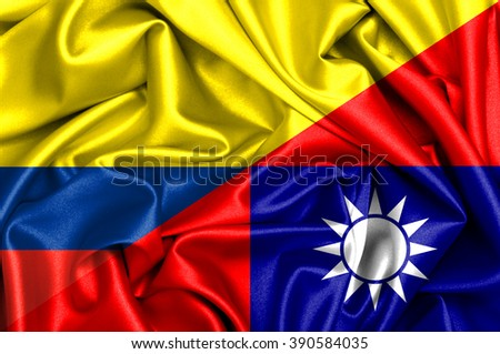 Waving flag of Taiwan and Colombia - stock photo