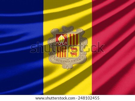 Waving flag of the Andorra - stock photo