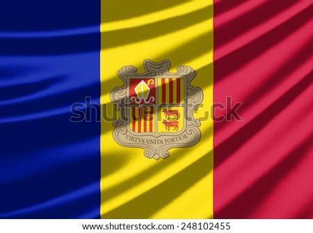 Waving flag of the Andorra - stock photo