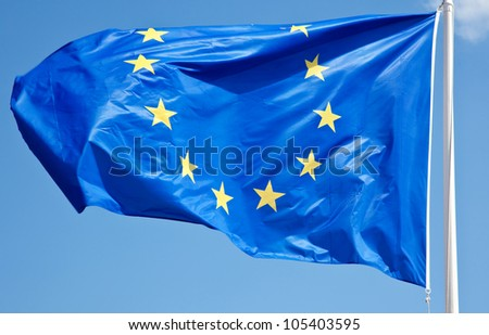 Waving flag of the European Union.