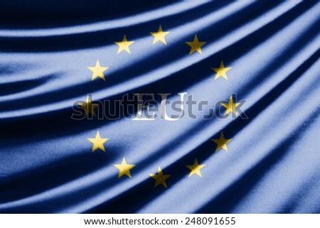 Waving flag of the European Union - stock photo