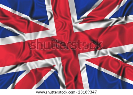 Waving flag of the United Kingdom - stock photo