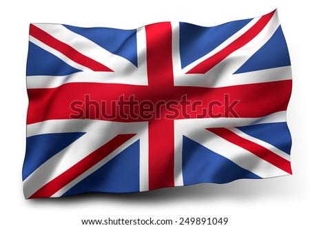 Waving flag of the United Kingdom - stock photo