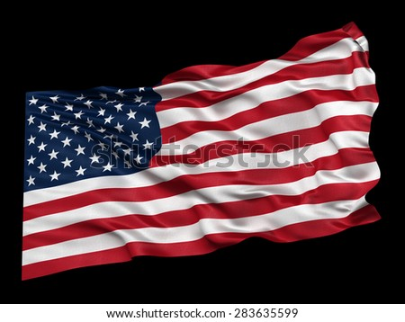 Waving flag of the USA from a low angle over black background. Easy to isolate when using the black background as matte. - stock photo