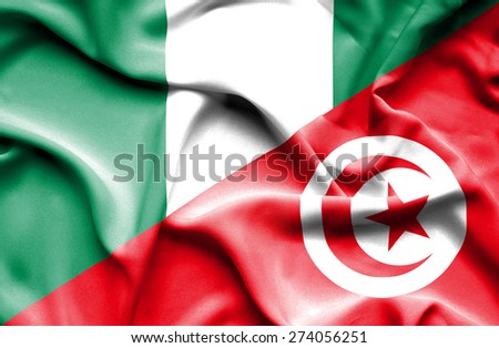 Waving flag of Tunisia and Nigeria