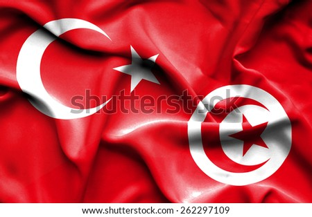 Waving flag of Tunisia and Turkey