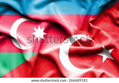 Waving flag of Turkey and Azerbaijan - stock photo