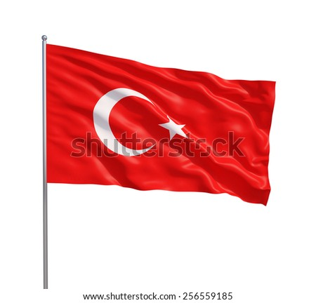 Waving flag of Turkey on a white background - stock photo