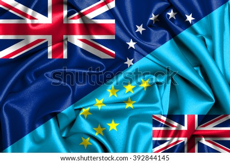 Waving flag of Tuvalu and Cook Islands