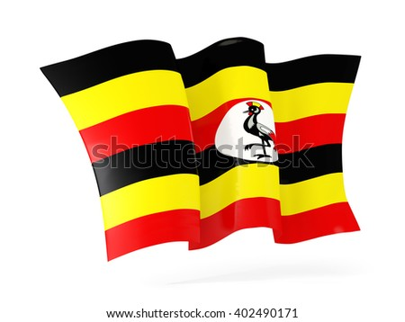 Waving flag of uganda isolated on white. 3D illustration - stock photo