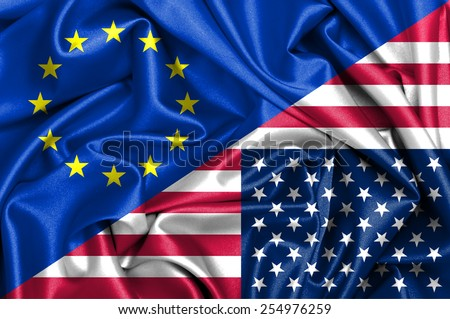 Waving flag of United States of America and EU