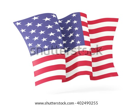 Waving flag of united states of america isolated on white. 3D illustration