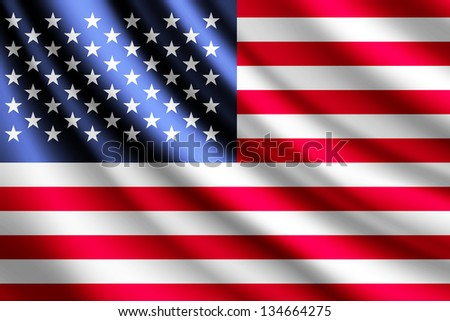 Waving flag of USA - stock photo