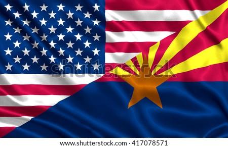 Waving flag of USA and Arizona state (USA) - stock photo