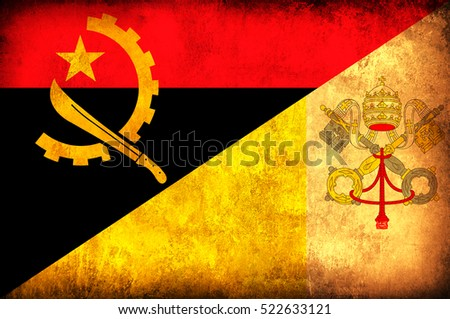 Waving flag of Vatican and Angola