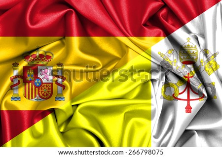 Waving flag of Vatican and Spain - stock photo