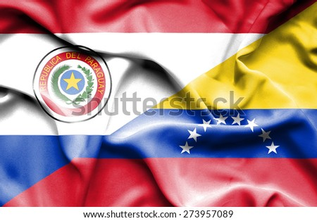 Waving flag of Venezuela and Paraguay