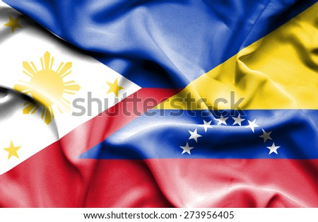 Waving flag of Venezuela and Philippines