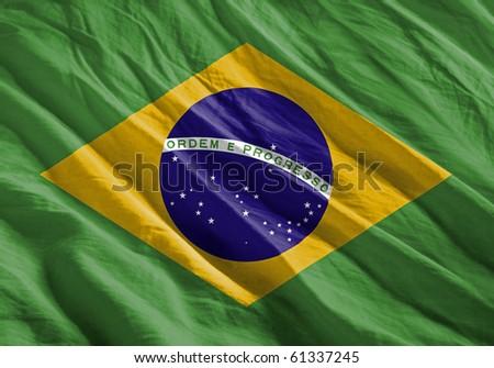 Waving flag series - Brazil - stock photo