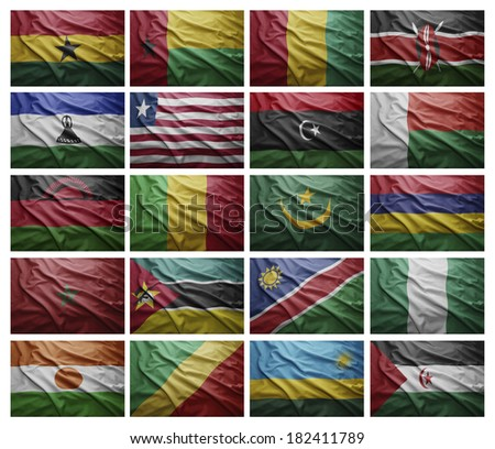 Waving Flags of African countries from G to S, Collage - stock photo