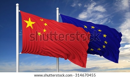 Waving flags of China and EU on flagpole, on blue sky background. - stock photo