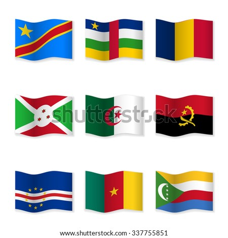 Waving flags of different countries. Flag icons on white background. 3D waving position with shadow. Each flag is isolated on its own layer with the proper name. Set 14. Raster version.