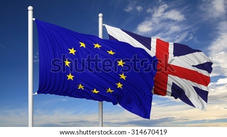 Waving flags of EU and UK on flagpole, on blue sky background. - stock photo