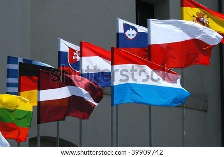 Waving flags of European states - stock photo