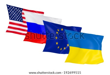 waving flags of Ukraine, European Union, Russia, USA on a white background
