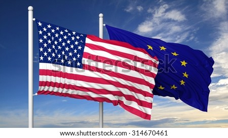 Waving flags of USA and EU on flagpole, on blue sky background. - stock photo