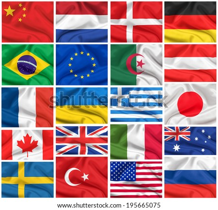waving flags set: USA, Great Britain, Italy, France, Brazil, Germany, Russia, Japan, Canada, Ukraine, Netherlands, Australia, Sweden, Greece, China and others - stock photo