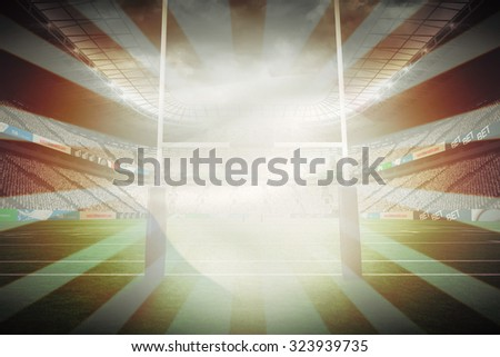 Waving France flag against linear design - stock photo