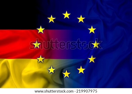 Waving Germany and European Union Flag - stock photo