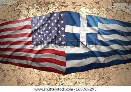 Waving Greek and American flags on the background of the political map of the world - stock photo
