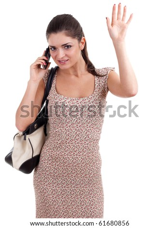 waving hello young woman speaks by mobile phone