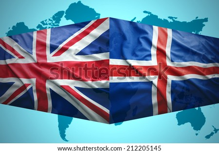 Waving Icelandic and British flags of the political map of the world