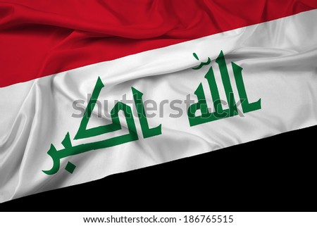Waving Iraq Flag - stock photo