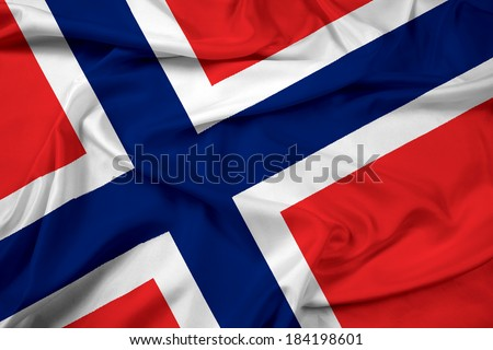 Waving Norway Flag - stock photo