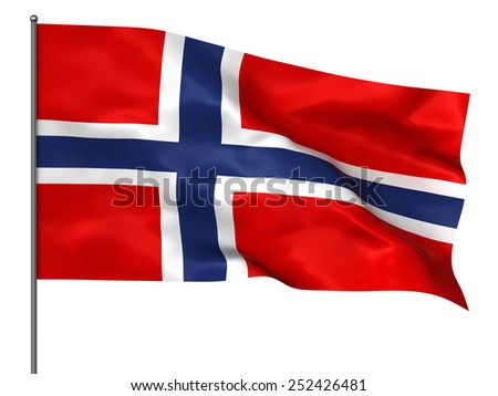 Waving Norwegian flag isolated over white background